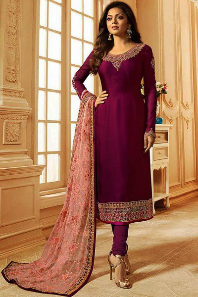 Sangria Purplish Pink Churidar Salwar Kameez with Floral Embroidery in Satin Silk