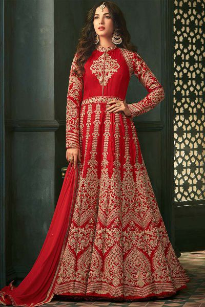 Red Floor-Length Anarkali Suit with Heavy Embroidery in Raw Silk