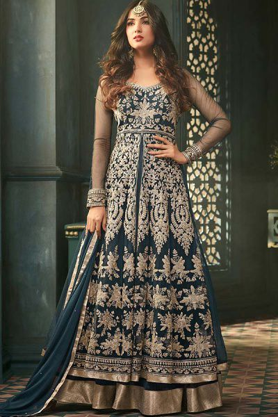 Deep Blue Front-Slit Anarkali Suit with Rich Embroidery and Layered Look in Net