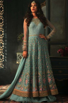 Dusky Blue Floral Embroidered Anarkali Suit with Lehenga in Net