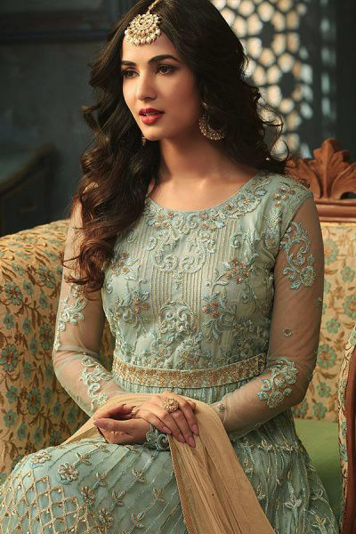 Powder Blue Anarkali Suit with Floral Embroidery in Net