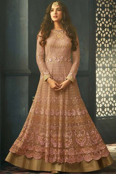 Dusky Pink Floral Embroidered Anarkali Suit with Layered Look in Net