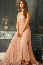 Gorgeous Floor-Length Anarkali Gown with Palazzo in Pale Pink Embroidered Net