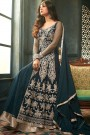 Deep Teal Blue Front-Slit Anarkali Suit with Rich Embroidery and Layered Look in Net