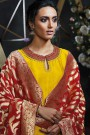 Sunshine Yellow Embroidered Palazzo Suit in Silk with Maroon Banarasi Jacquard Dupatta