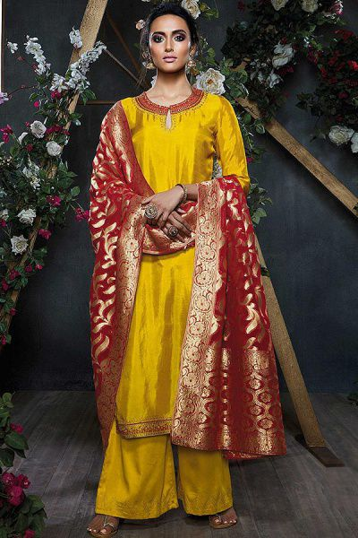 Sunshine Yellow Embroidered Palazzo Suit in Silk with Maroon Banarasi Jacquard Dupatta
