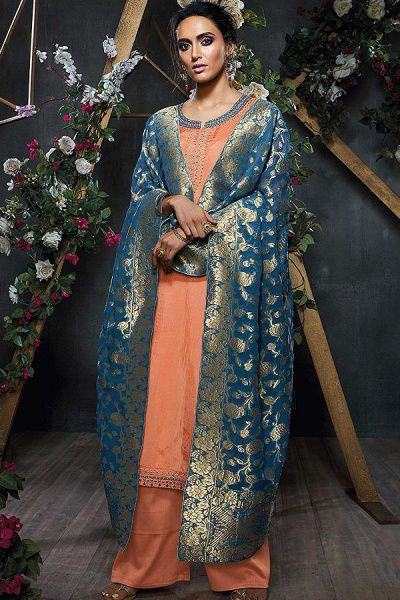 Peach Embroidered Palazzo Suit in Silk with Deep Teal Blue Banarasi Jacquard Dupatta