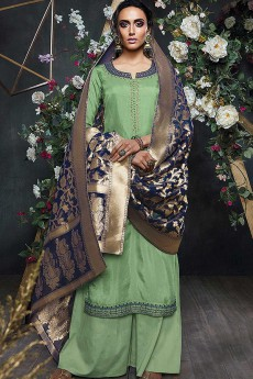 Mint Green Embroidered Palazzo Suit in Silk with Navy Blue Banarasi Jacquard Dupatta