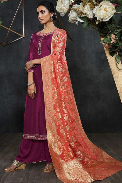 Magenta Embroidered Palazzo Suit in Silk with Peach Banarasi Jacquard Dupatta