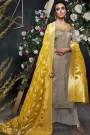 Mink Grey Embroidered Palazzo Suit in Silk with Yellow Banarasi Jacquard Dupatta