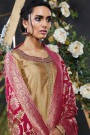 Mocha Brown Embroidered Palazzo Suit in Silk with Ruby Pink Banarasi Jacquard Dupatta