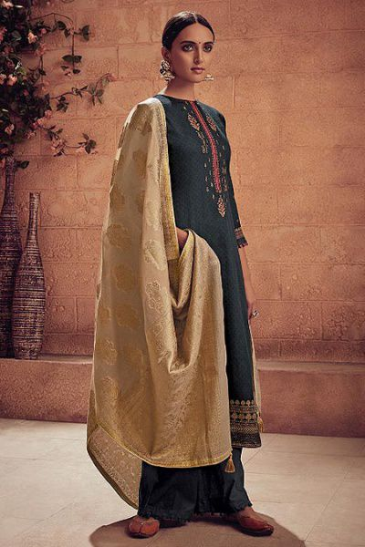 Charcoal Grey Embroidered Palazzo Suit in Digital Print Cotton Silk with Golden Banarasi Weave Dupatta