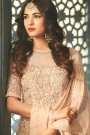 Beige Floral Embroidered Anarkali Suit with Layered Look in Net