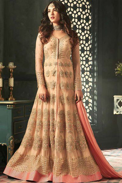 Dusky Peach Front-Slit Anarkali Suit with Layered Look and Floral Embroidery in Net