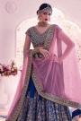 Navy Blue & Pink Lehenga Choli In Handloom Silk With Floral Zari Embroidery