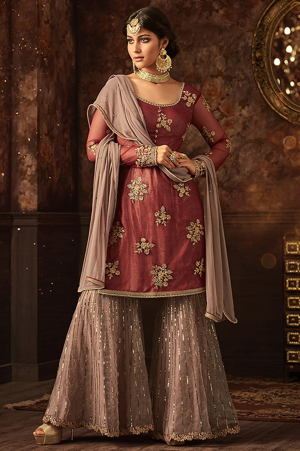 Floral Embroidered Sharara Suit in Maroon & Pale Brown Net