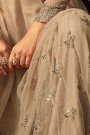 Embroidered Net Sharara/Palazzo Suit In Nude Colour