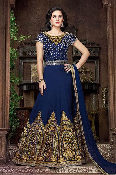 Dark Navy Blue Heavy Embroidered Silk Anarkali Suit
