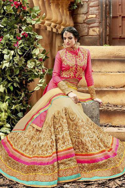 Glam Reddish Pink and Beige Heavy Embroidered Net Designer Lehenga