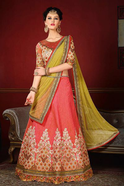 Designer Lehenga Choli in Coral Pink Embroidered Raw Silk