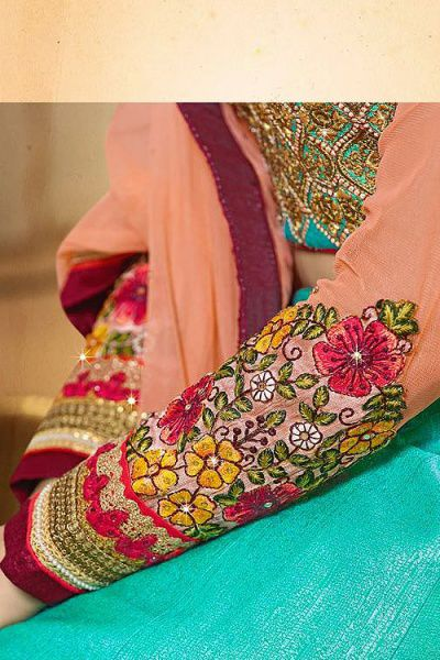 Peach & Turquoise Green  Lehenga Choli with Embroidery in Art Silk