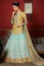 Designer Lehenga Choli in Beige & Pastel Blue Embroidered Viscose Chanderi Silk