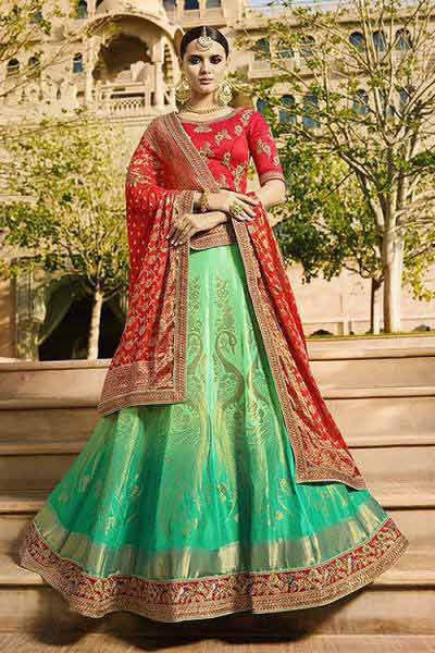 Ombre Green & Red Jacquard Designer Lehenga Choli With Zari Embroidery