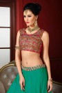 Designer Lehenga Choli in Magenta & Bluish Green Embroidered Bhagalpuri Silk