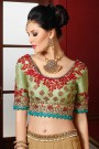 Designer Lehenga Choli in Pastel Green & Beige Embroidered Raw Silk