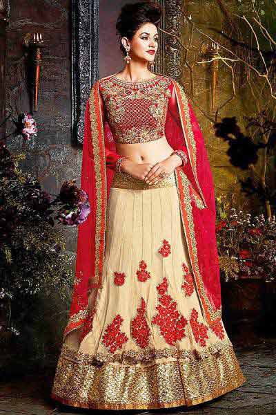 Designer Lehenga Choli in Beige & Ruby Red with Zari Embroidery in Velvet & Net