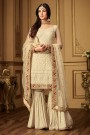 Beige Embroidered Gharara/Sharara Suit