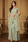 Pastel Blue Slit Anarkali Suit with Embroidered Pants and Dupatta