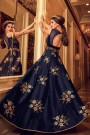 Navy Blue Floor Length Anarkali Suit with Floral Zari Embroidery