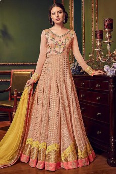 Peach Floral Embroidered Anarkali Suit with Yellow Dupatta