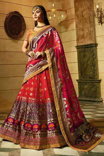 Red Silk Jacquard Lehenga Choli with jacquard Dupatta