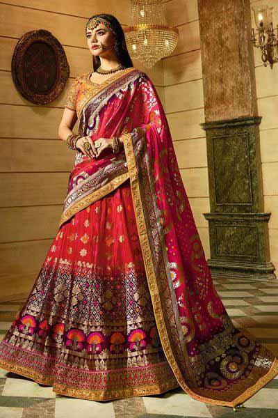 Red Silk Jacquard Lehenga Choli with jacquard Dupatta