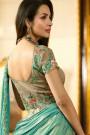 Malaika Arora Light Mocha Silk Jacquard Lehenga Choli with Turquoise Lycra Dupatta