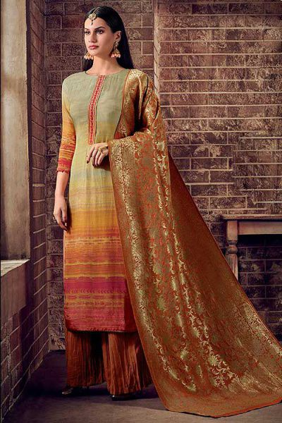 Orange Multi Palazzo Suit in Crepe Silk with Jacquard Dupatta