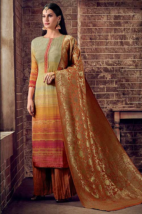 Ready to Wear Orange Palazzo Suit in Crepe Silk with Jacquard Dupatta