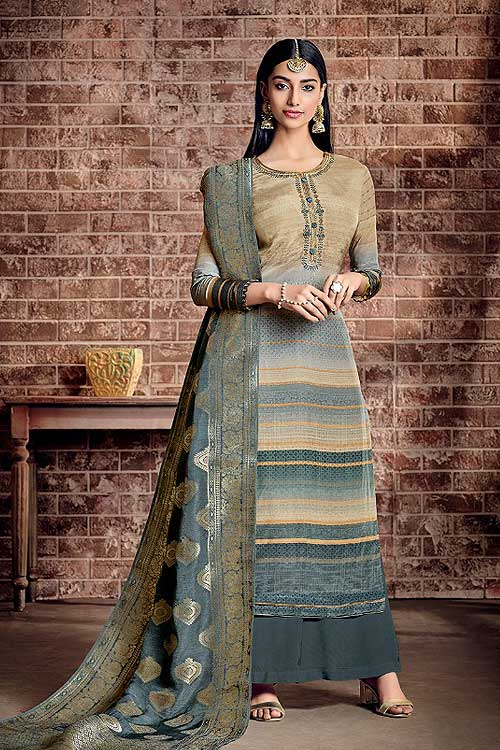 Ready to Wear Grey Blue Palazzo Suit in Crepe Silk with Jacquard Dupatta