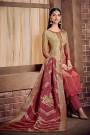 Pink Multi Color Salwar Suit in Crepe Silk with Pants & Jacquard Dupatta