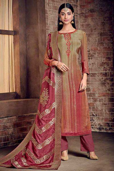 Pink Multi Color Salwar Suit in Crepe Silk with Pants & Jacquard Dupatta