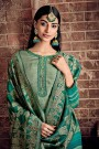 Green Palazzo Suit in Crepe Silk with Jacquard Dupatta