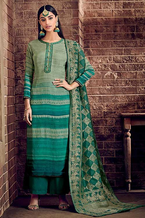 Ready to Wear Green Palazzo Suit in Crepe Silk with Jacquard Dupatta
