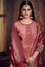 Pink Palazzo Suit in Crepe Silk with Jacquard Dupatta