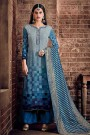 Blue Palazzo Suit in Crepe Silk with Jacquard Dupatta