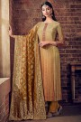 Golden Brown Salwar Suit in Crepe Silk with Pants & Jacquard Dupatta