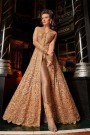 Golden Brown Embroidered Collared Front Slit Anarkali Suit with Lehenga/Skirt & Pants