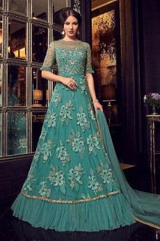 Turquoise Anarkali Suit with Floral Embroidery