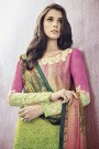 Stunning Printed Green Lawn Cotton Straight Cut Salwar Suit With Embroidery